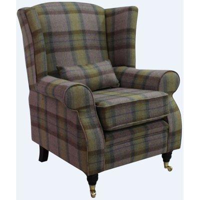 Arnold Wool Tweed Wing Chair Fireside High Back Armchair Wool Plaid Olive Grove Check - DESIGNER SOFAS 4 U