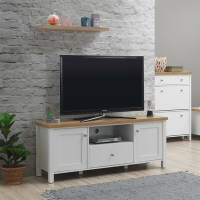 Astbury TV Unit Stand Media Cabinet 2 Doors + Drawer White & Oak - TIMBER ART DESIGN UK