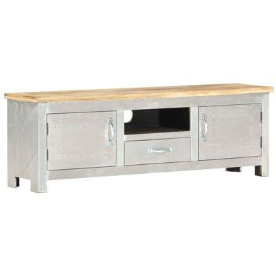 vidaXL Aviator TV Cabinet 120x30x40 cm Solid Mango Wood - Silver