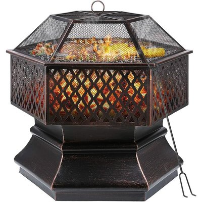 Fire Bowl,Hexagonal Fire Pit, Garden, Fire Basket with Grill Grate, Spark Guard Grate, Poker & Charcoal Grate, for Heating/BBQ, Fire Bowls for the