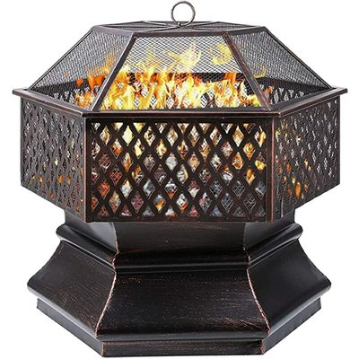 Fire Bowl? Hexagonal Fire Pit, Garden, Fire Basket with Grill Grate, Spark Guard Grate, Poker & Charcoal Grate, for Heating/BBQ, Fire Bowls for the