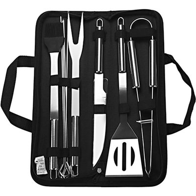 Asupermall - Barbecue Accessory Kit Grill Tool Set Versatile with Storage Case Stainless Steel BBQ 9-piece Unit