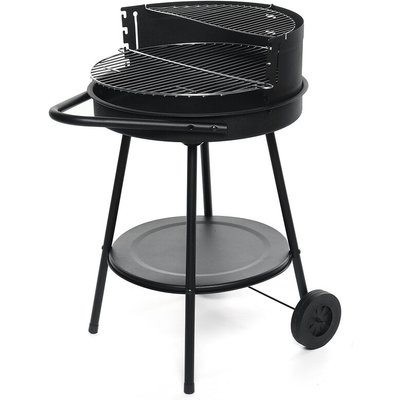 BBQ Charcoal Grill Roaster Outdoor Camping Barbecue w/ Wheels 48cm