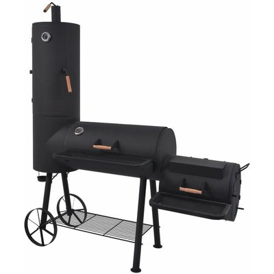 Youthup - BBQ Charcoal Smoker with Bottom Shelf Black Heavy XXL