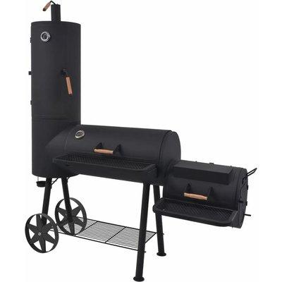 BBQ Charcoal Smoker with Bottom Shelf Black Heavy XXL - Black