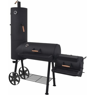 vidaXL BBQ Charcoal Smoker with Bottom Shelf Black Heavy XXL - Black