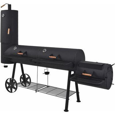 BBQ Charcoal Smoker with Bottom Shelf Black Heavy XXXL - Black - Vidaxl