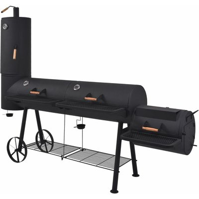 BBQ Charcoal Smoker with Bottom Shelf Black Heavy XXXL