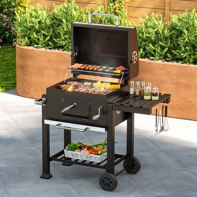 BBQ Grill - charcoal grill, barbecue, charcoal bbq - black - LIVINGANDHOME