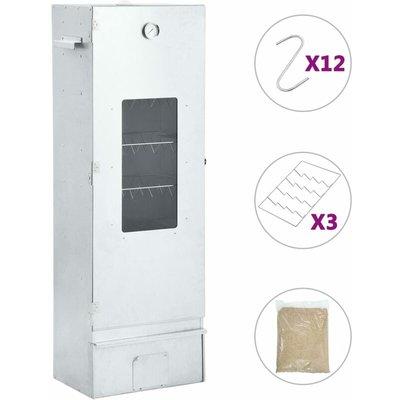 Zqyrlar - BBQ Oven Smoker with 1kg Wood Chips 44.5x29x124 cm - Silver
