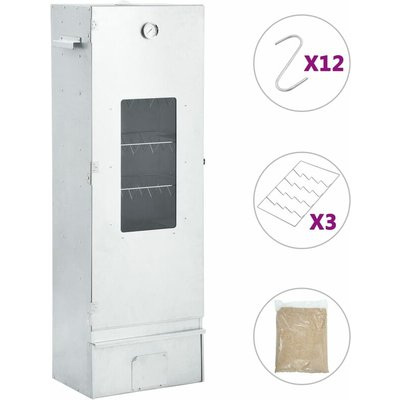 vidaXL BBQ Oven Smoker with 1kg Wood Chips 44.5x29x124 cm - Silver