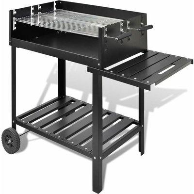 Zqyrlar - BBQ Stand Charcoal Barbecue 2 Wheels - Black