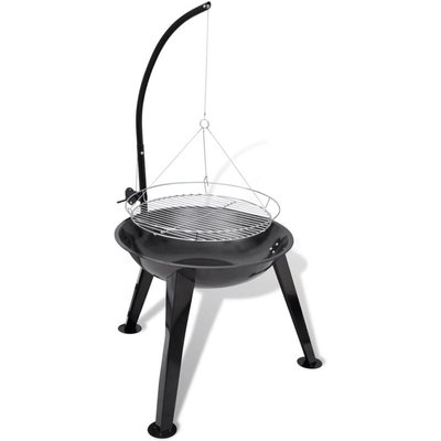 Zqyrlar - BBQ Stand Charcoal Barbecue Hang Round - Black