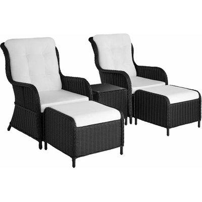 Tectake - Benissa Rattan Set - Rattan garden furniture set, rattan garden furniture, rattan furniture - black
