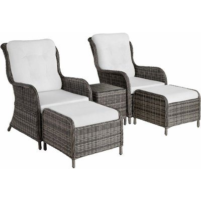 Tectake - Benissa Rattan Set - Rattan garden furniture set, rattan garden furniture, rattan set - grey