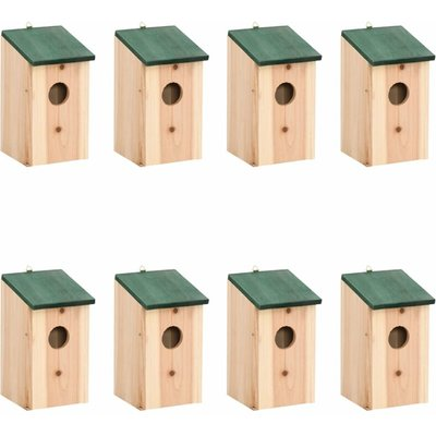 Bird Houses 8 pcs Wood 12x12x22 cm - ASUPERMALL