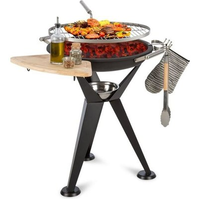 Caruso 2-in-1 Fire Bowl Ø58cm Swivel Function Ø55cm Grill Black - Blumfeldt