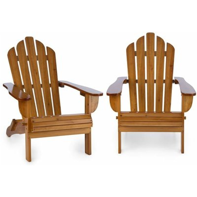 Vermont Garden Chair 2-piece Set Adirondack Style Fir Wood Brown - Blumfeldt