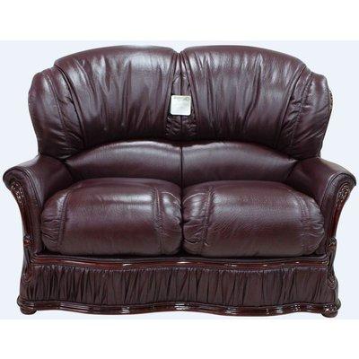 Designer Sofas 4 U - Bologna 2 Seater Genuine Italian Buffalo Burgandy Leather Sofa Offer