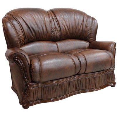 Designer Sofas 4 U - Bologna 2 Seater Genuine Italian Tabak Brown Leather Sofa Offer