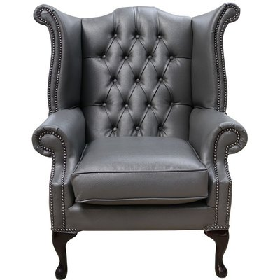 Bonded Leather Grey Chesterfield Queen Anne Wing chair   DesignerSofas4U