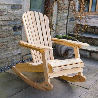 Bowland Adirondack Wooden Rocking Chair for Garden or Patio - Trueshopping