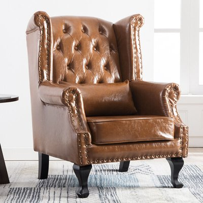 Chesterfield PU Leather Wingback Armchair With Cushion, Light Brown