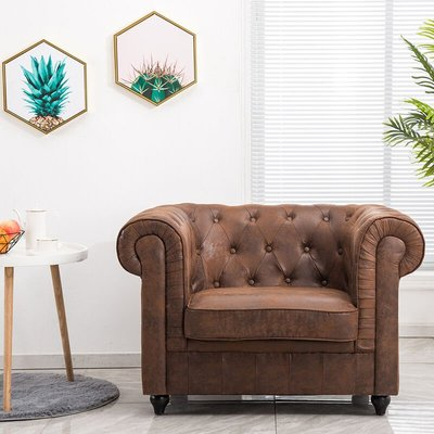 Brown Distressed Leather Chesterfield Chair Armchair