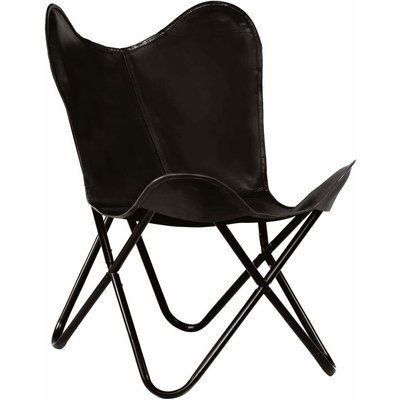 Butterfly Chair Kids Size Real Leather Black - VIDAXL
