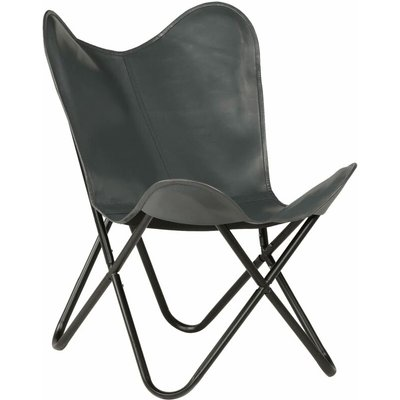 Butterfly Chair Kids Size Real Leather Grey - VIDAXL