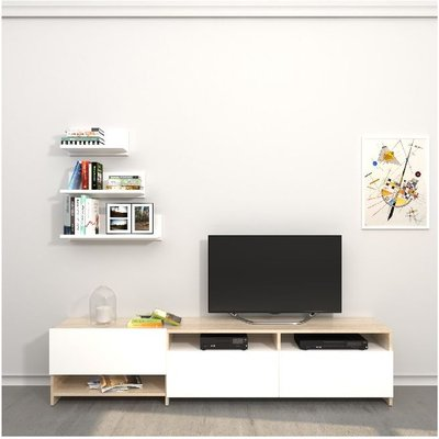 Campbell TV Stand - with Shelves, Shelves, Doors - from Living Room - White, Sonoma made of Wood, 180 x 28,4 x 40 cm - HOMEMANIA