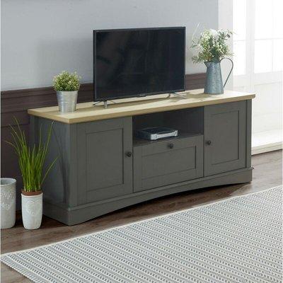Carden TV Unit Stand Media Cabinet 2 Doors + Drawer Dark Grey & Oak