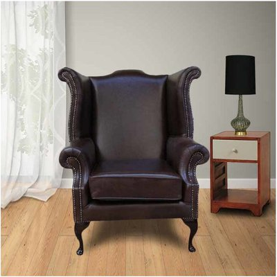 Designer Sofas 4 U - Cavendish Scroll Wing Chair High Back Wing Chair Old English Red Brown
