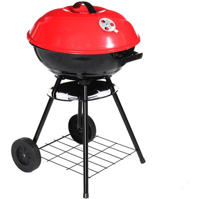 Augienb - Portable Round Charcoal Grill BBQ Outdoor Patio Barbecue 72*43cm Black+Red
