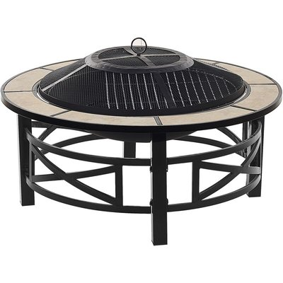 Outdoor Garden Fire Pit Round Steel Ceramic Black Base Beige Hierro