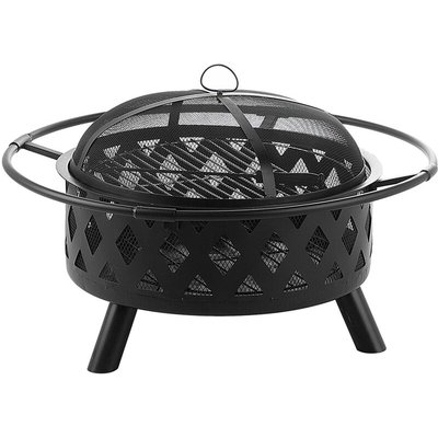 Modern Outdoor Charcoal Fire Pit Black Steel Metal Bowl Shape Round Mayon