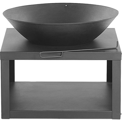 Modern Outdoor Charcoal Fire Pit Black Steel Metal Bowl Shape Round Tanara