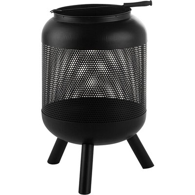 Modern Outdoor Charcoal Fire Pit Black Steel Metal Cylindrical Round Veer