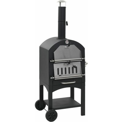 vidaXL Charcoal Fired Outdoor Pizza Oven with Fireclay Stone - Black