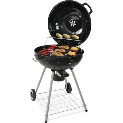 Charcoal grill, barbecue, charcoal bbq with wheels Ø 58 cm black - OOBEST