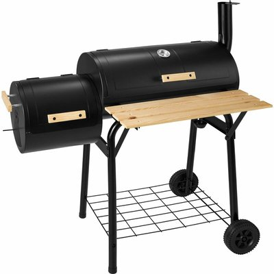 Tectake - BBQ with temperature display - charcoal grill, barbecue, charcoal bbq - black