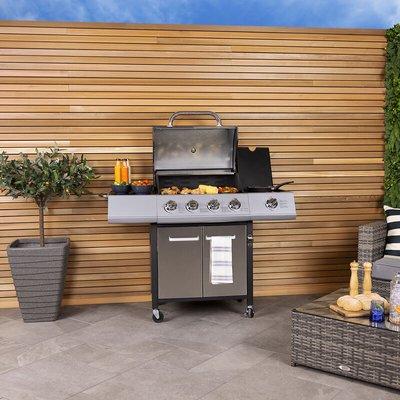 5 Burner (4+side) Premium Gas BBQ - Stainless Steel - Charles Bentley
