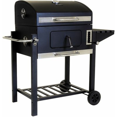 American Large Portable Grill Charcoal BBQ 60x 45cm Cooking Area - Black - Charles Bentley