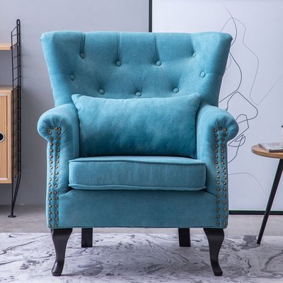 Chenille Wingback Armchair With Cushion, Tiffany Blue