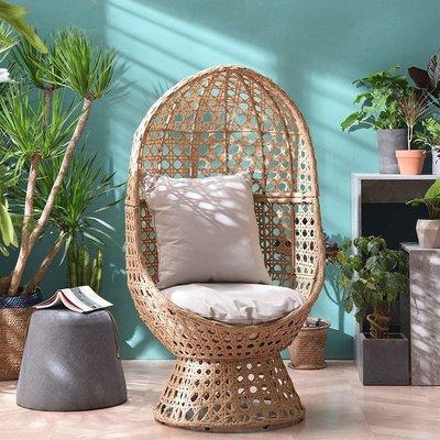 Cherry Tree Furniture Nerida Natural Rattan Effect Cocoon Swivel Garden Egg Chair - MERIDEN FURNITURE