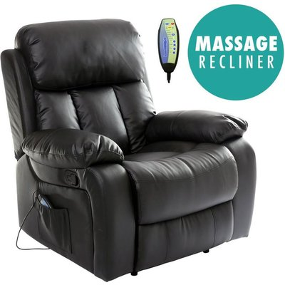Chester Black Real Leather Recliner Armchair - MORE4HOMES
