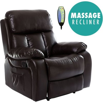 Chester Brown Real Leather Recliner Armchair - MORE4HOMES