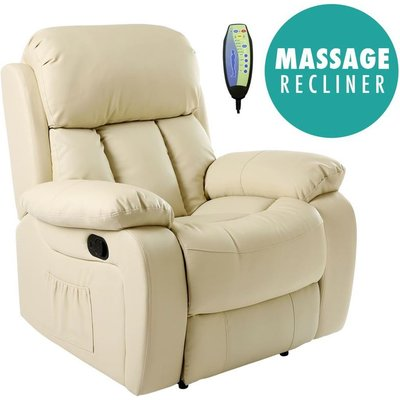 Chester Cream Real Leather Recliner Armchair - MORE4HOMES