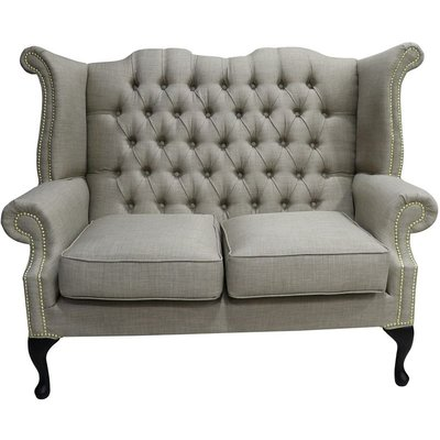 Chesterfield 2 Seater Queen Anne High Back Wing Sofa Charles Fudge Linen Fabric - DESIGNER SOFAS 4 U