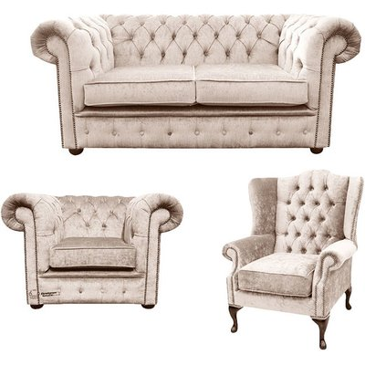 Designer Sofas 4 U - Chesterfield 2 Seater Sofa + Club Chair + Mallory Wing Chair Harmony Ivory Velvet Sofa Suite Offer